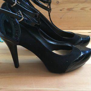 Black Patent & Velvet Pumps 3+inch Heels EUC Size7